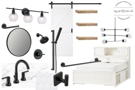 I designed this for a kids bedroom bathroom combo! Love the mix of black and white, traditional and modern elements!   #LTKhome #LTKkids #LTKstyletip