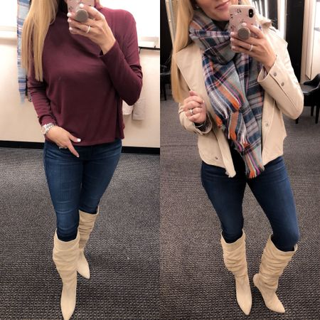Two of my favorite looks from the #nsale! These boots are amazing but a bit of a splurge… But I linked a budget friendly option in this post as well. Be sure to check the blog for a full review of everything I LOVE from the sale. Adding more every couple hours to keep checking back! Link in bio to blog post! http://liketk.it/2ww1J #liketkit @liketoknow.it #LTKsalealert #LTKstyletip #LTKunder100 #LTKunder50 #LTKshoecrush