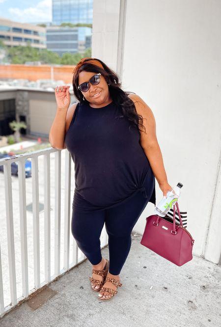 Plus size fashion | ASOS top, black leggings, double strap footbed sandals, Kate Spade bag, sunglasses   #LTKbacktoschool #LTKcurves #LTKunder50