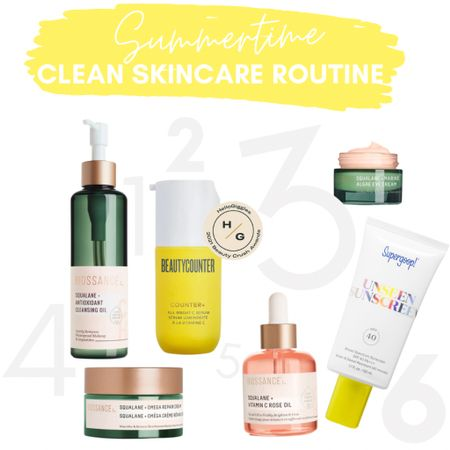 Clean beauty picks for summertime! These are all stars that will brighten your skin. 1- Biossance soothing cleansing oil will dissolve your makeup. 2- Beautycounter vitamin C serum reduces your sun spots and you'll notice results immediately 3- fine-line fighting eye cream from Biossance 4- a magical moisturizer 5- Reese witherspoon's favorite Biossance product and mine too! 6- supergoop sunscreen doubles as a makeup primer 🙌  #LTKbeauty #LTKSeasonal