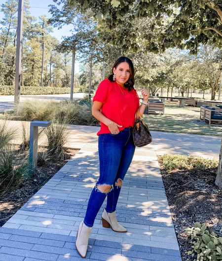 Gibsonlook red swiss dot top, Free People busted knee jeans, Vince Camuto booties. Love this red top so much! I also linked a long sleeve option. Jeans run tts. Shoes run tts and are on sale for $79. The red top would be so cute for holiday photos, or a holiday get together    #LTKsalealert #LTKHoliday #LTKunder100