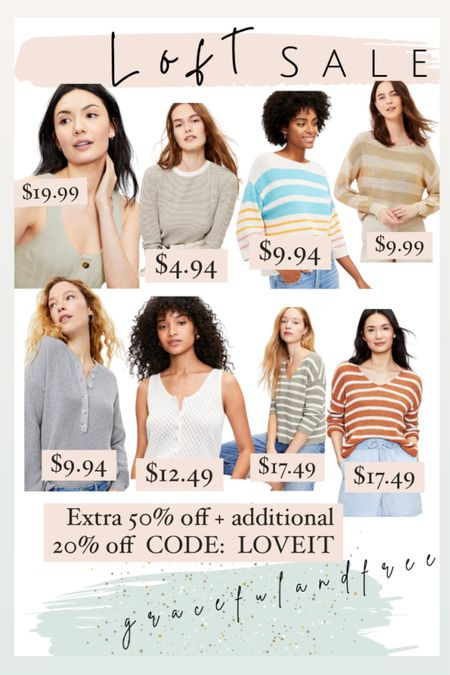 Loft sale alert. Women's sweaters, ribbed button sweater, ribbed Henley top, striped boatneck sweater, striped slouchy v-neck sweater, puff sleeve sweater, ribbed Henley sweater, lattice button sweater tank.    http://liketk.it/3jY3A #liketkit @liketoknow.it #LTKsalealert #LTKunder50 #LTKstyletip Shop your screenshot of this pic with the LIKEtoKNOW.it shopping app