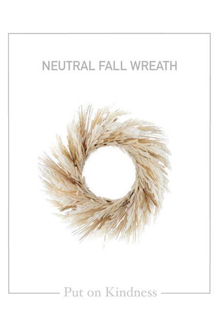 """Neutral fall front door wreath.  24"""" wheat wreath. 24inch wreath.   #LTKunder50 #LTKSeasonal"""