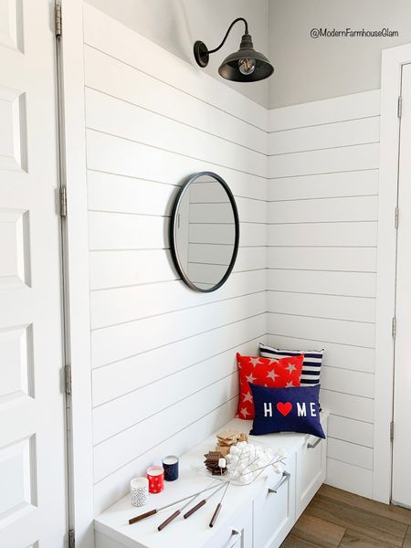 My gooseneck Farmhouse light and black frames round mirror in the overstock memorial day blowout sale! Also shop these fun red white and blue finds for your holiday weekend, Fourth of July, and summer barbecues. Red white and blue pillow, summer Patio home decor. Clear serving tray, home pillow, striped outdoor pillow, star pillow, citronella candles, Target bullseye, Target home, red white and blue star lights, Fourth of July wooden sign, marshmallow sticks, s'more's  http://liketk.it/3geJN #liketkit @liketoknow.it #LTKsalealert #LTKDay #LTKhome @liketoknow.it.home Download the LIKEtoKNOW.it shopping app to shop this pic via screenshot