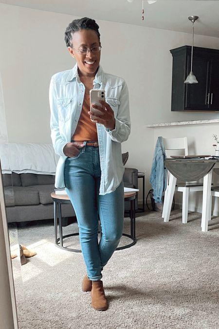 Jean everywhere!  #jeans #bluejean #chambray #shirt #top #targetfind #targetoutfit #booties #falllook #outfit #sweatertop #sweater #fallcolors #rust   #LTKSeasonal #LTKstyletip #LTKunder50