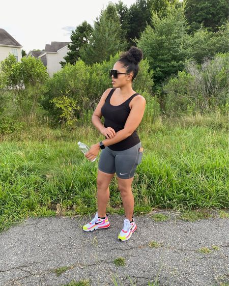 #Workoutwednesday. Please make sure that you are taking time out for you! No one in this lifetime has lived out what we are going through right now and no one can tell you how to feel or react. Keep Pushing! That's for me and you! Make sure that you get outside to get some FRESH AIR and VITAMIN D. I'm trying to get at least a 30-MINUTE JOG/WALK in a few times per week. REMEMBER TO STAY HYDRATED - CHECK YOUR WATER INTAKE! • Nike running shorts (biker shorts) + these super comfy Nike Air Max 270 React + Activity rings on my Apple Watchkeep me on track. • Love how these shorts have a pocket to hold my phone and/or keys • If you like this look, I've already picked it out for you! Link in bio - click on Shop My Looks on LIKEtoKNOW.it  http://liketk.it/2R3vd #liketkit @liketoknow.it  • #liketknit Wednesday #workingwomenswednesday #blogger #cltblogger #curls #closetinvite #nature #jog #walk #vitamind #ootd #wednesday #liketoknowitstyle #ltkfashion #ltkunder50 #ltkunder100 #curlyhair #curlyhairstyles #curlygirlmethod #summertime #summervibes #change #nike #bikershorts #airmax270
