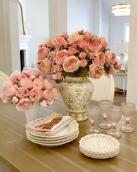 White and gold ginger jar ✨ pink peonies, pretty plates, beautiful dinnerware, summer decor @liketoknow.it #liketkit http://liketk.it/3hYoN #LTKhome #LTKsalealert #LTKunder50