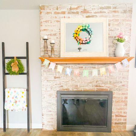 Easter decor spring decor target home mantle cute colorful farmhouse fireplace garland easter wreath blanket ladder   #LTKhome #LTKSeasonal #LTKunder50
