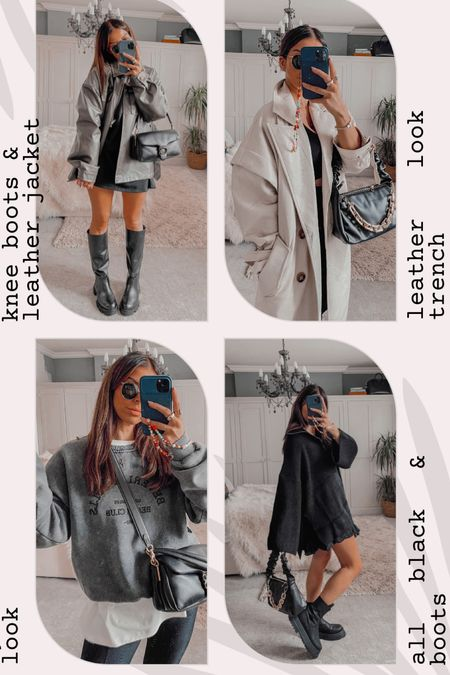 Autumn outfits  Leather coat Trench coat  Sweatshirts All black outfits  Chunky boots  Split legging   BETH for 40% off  #LTKunder100 #LTKeurope #LTKstyletip