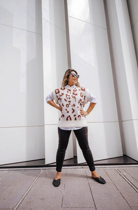 loving the fall layers!  here's a fun vest over a white shirt.  paired with mules and leggings. #ltkfall  #LTKSeasonal #LTKstyletip #LTKunder100