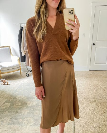 Here's a closer look at one of my favorite Nordstrom Sale outfits — the skirt runs large (wearing a 2) and also comes in olive green!  My exact sweater is sold out, but I found a dupe at Bloomingdales (in the Related section) and linked a few more fall satin skirts I love 🍂   nsale skirt, nsale picks, nordstrom sale outfits, nsale skirts, nsale outfits, nordstrom sale skirts #nsale #nordstromsaleoutfits