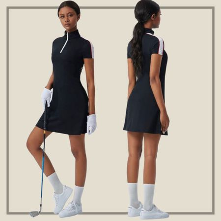 Contrast panel zip neck sports golf dress  #LTKunder50 #LTKfit #LTKstyletip