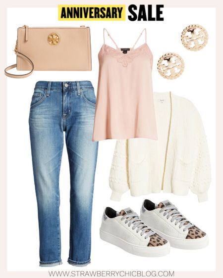 A fun casual look with a balloon sleeve cardigan and pink lace trim cami.   #LTKsalealert #LTKSeasonal