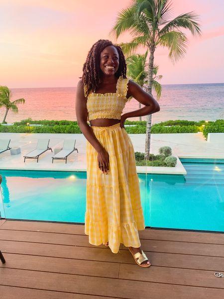 Jamaican sunsets 🌅 2 piece yellow dress set      #LTKunder100