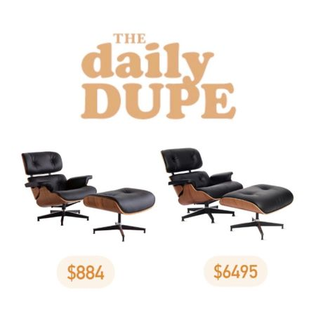 Daily Dupe, Home Furniture, Eames Chair, Mid Century Lounge Chair, Save vs Splurge   #LTKhome