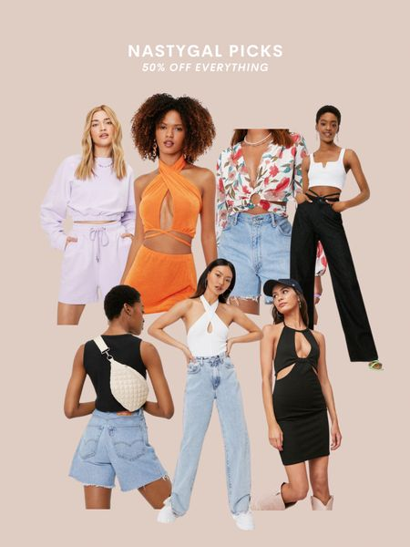 Nasty Gal style picks, neutral style, green, bodysuit, crop top, wrap top, open back, beach vacation style, summer outfit, outfit inspo, spring fashion, TikTok, trendy outfit, black shirt, date night, party top, vacay, bachelorette, dress, designer dupe bag, color, orange cut out top, floral, white bodysuit   #LTKunder50 #LTKSeasonal #LTKstyletip