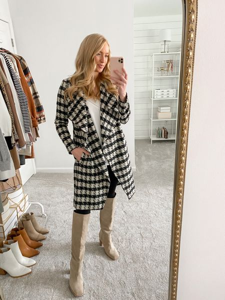 Houndstooth coat restocked in the Nordstrom Anniversary Sale- wearing a small and it runs TTS   #LTKsalealert