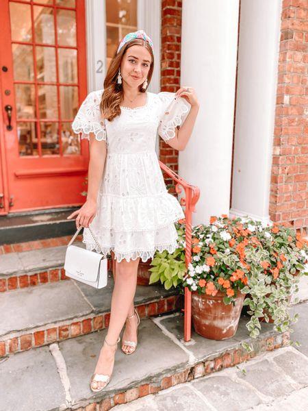 White dress. Lace dress. Chicwish dress. Kate spade purse. Kate spade surprise sale. Gold heels. Sam Edelman heels. Lele headband. Lilly Pulitzer headband. White purse. Bride outfit. Bridal shower outfit.   #LTKunder100 #LTKwedding