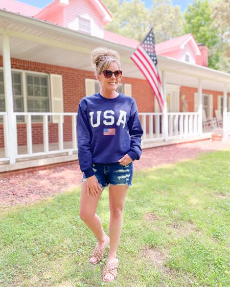 Memorial Day weekend / 4th of July / Labor Day weekend / outfit / look / style / USA sweatshirt size small / American Eagle dream shorts size 4 / braided sandals fit TTS http://liketk.it/3gDoV #liketkit @liketoknow.it #LTKstyletip #LTKshoecrush #LTKunder50