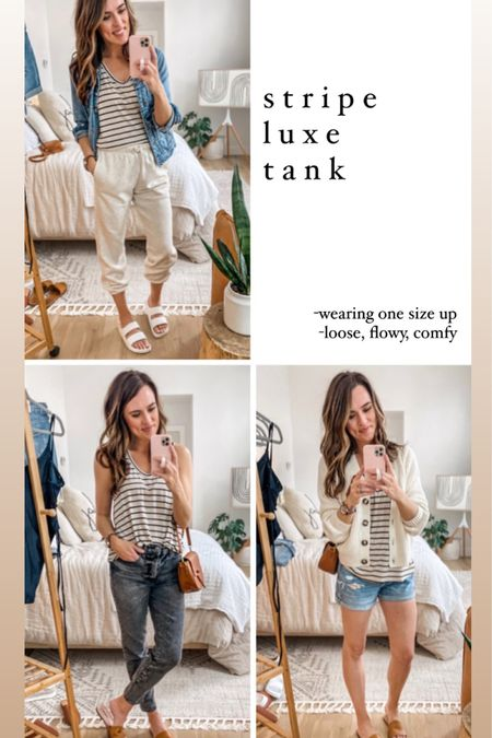 Old Navy spring capsule wardrobe!  -stripe tank: up one size, so comfy and roomy  -sweats: regular size, high waist  -shirts: up one size always in shorts   http://liketk.it/3bh92 #liketkit @liketoknow.it