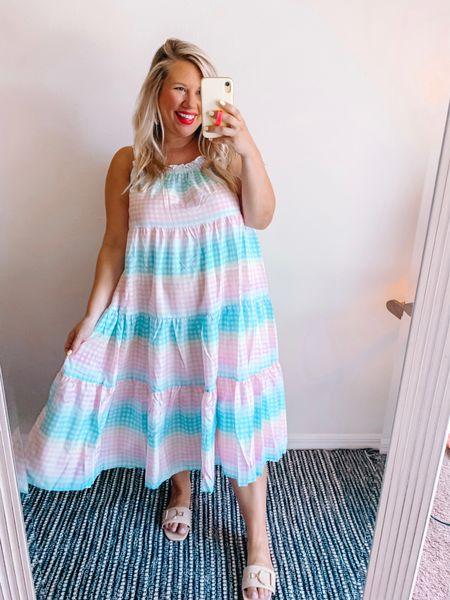 Dreamy pastel rainbow dress 😍. Wearing a large, but I'd def suggest sizing down.     #LTKbump #LTKcurves #LTKstyletip