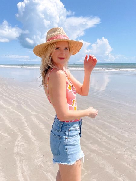 Pink floral one piece swimsuit, denim shorts, straw hat       #LTKswim