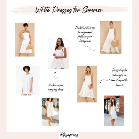 Favorite white summer dresses, from casual beach dresses to maxi dresses dressed up for your honeymoon or date night. http://liketk.it/3fBlo #liketkit @liketoknow.it #LTKunder100