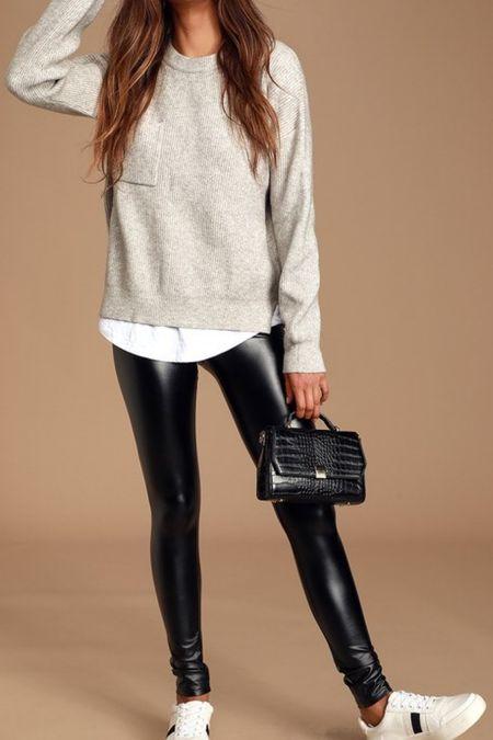 Black vegan leather leggings   #LTKstyletip #LTKtravel #LTKSeasonal