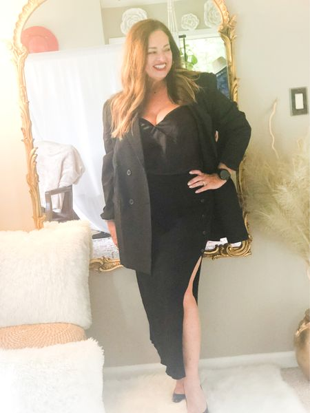 A great date night Look.. this oversized blazer paired with a silk camisole and sweater skirt just pulls the look together for a modern look. I love mixing textures for a richer ensemble….  Today is #Fashionfriday! Follow along with my friends to check out their fashion looks   @classicstylebylisa @gwenliveswell @brigittemarieforet @joyousstyling @deborahsorlie @melaniespickett @patrishpages @kandidlykim @lynnettiu @overfiftyandblessed @jaxvegancouple @fashionablyfifty  @roomtoveuve @mymidlifestylist @distinctlysouthernstyle    #LTKSeasonal #LTKbacktoschool #LTKstyletip