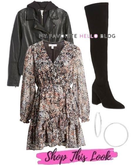 Nordstrom anniversary sale boho dress with over the knee boots. Floral dress and otk boots with hooded leather jacket. #nsale #nordstrom #bohodress #otkboots #leatherjacket http://liketk.it/3jPAi #liketkit @liketoknow.it   #LTKsalealert #LTKshoecrush #LTKunder100