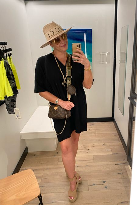 #espadrilles are perfect for summer with this #lbd #tshirtdress and hat (with my Gucci headband wrapped around it). Shop this look now! #amazonfinds #strawhat #summerstyle #espadrille   #LTKcurves #LTKshoecrush #LTKitbag
