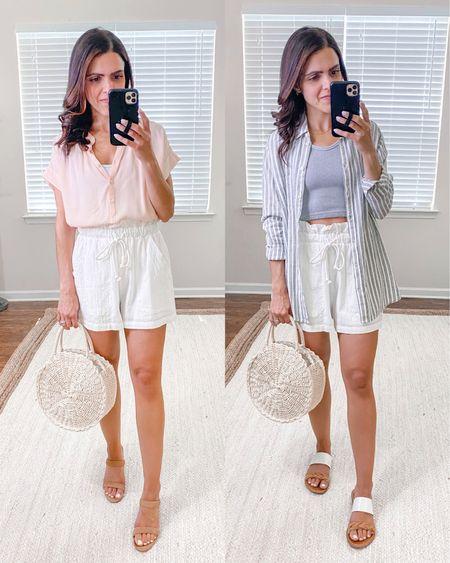 Shop the Mint julep boutique haul + ways to wear // white paperbag shorts (tts) http://liketk.it/3hPLA #liketkit @liketoknow.it #LTKstyletip #LTKunder100