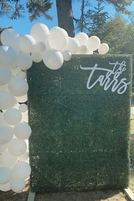 Engagement party, grass wall, balloon arch, wedding decor, bridal shower decor, Amazon grass wall, last name sign  #LTKunder100 #LTKstyletip #LTKwedding