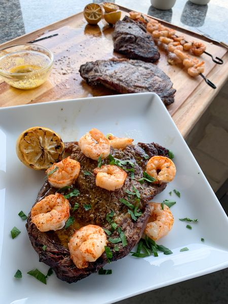 Steak Night done right. We used our Brinkmann 9021 Shish Kabob Set to prepare the shrimp. So good. #SteakNight #SurfandTurf #Steaks #Shrimp #FamilyNight   #LTKhome #LTKfamily