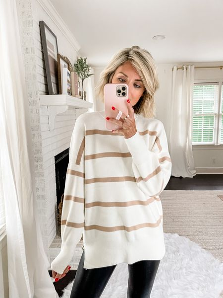 Soft striped Abercrombie sweater paired with a legging.   #LTKstyletip