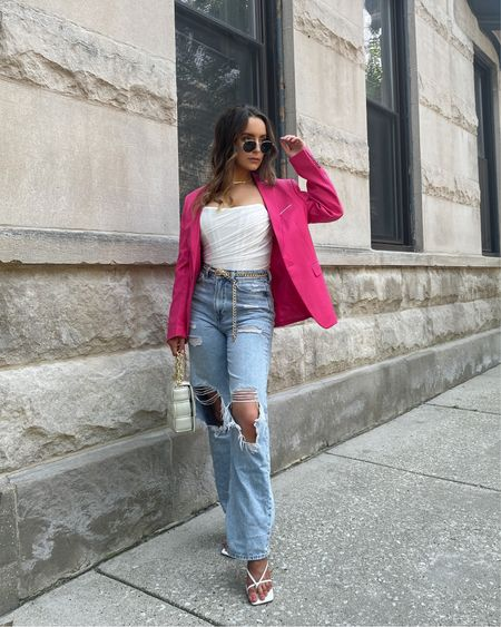 Serving up blazer style on a Thursday that feels like a Tuesday 🥂 http://liketk.it/3jgvL #liketkit @liketoknow.it #LTKstyletip #LTKunder50 #LTKworkwear  Blazer style, pink blazer, business casual, affordable outfit, amazon finds, amazon fashion, amazon outfit, summer outfit, corset top, lace up sandals, affordable sandals, chain belt, summer style