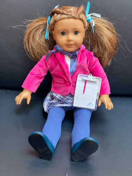 """""""Amaya"""" is channeling a Clueless vibe with this back to school outfit! Cutest American Girl Doll oufit ❤️ includes jacket, skirt, bow, shoes, tights, clipboard, teeny pen, and shirt. I think I have as much fun as my baby girl playing with these dolls!  #LTKbacktoschool #LTKkids"""