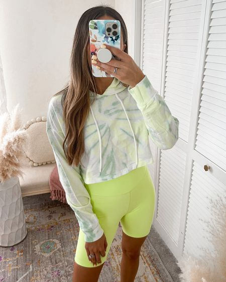 Workout or travel outfit … tie dye pullover and neon biker shorts  Wearing size SMALL in both    http://liketk.it/3k2dZ #liketkit @liketoknow.it @liketoknow.it.brasil @liketoknow.it.europe @liketoknow.it.family @liketoknow.it.home #LTKfit #LTKtravel #LTKstyletip #forever21