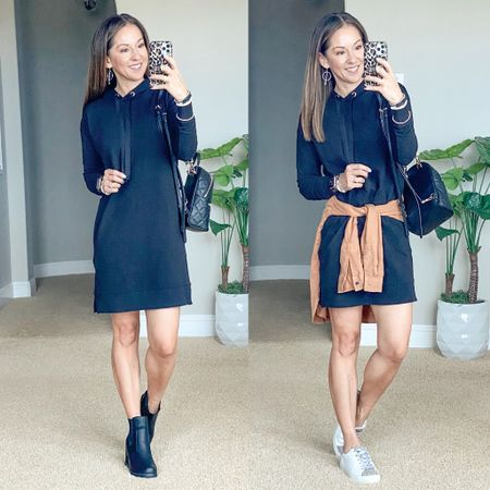 The cutest sweatshirt dress ever!!❤️ It even has pockets!  Comes in several colors. Wearing an xs.    🛍Save 10% on upcycled designer watch bands like mine from @sparklbands code EVERYDAYHOLLY  🛍 Save 15% on my custom made bracelets from @armcandybraceletsbyt code HOLLY15  Fall outfits • Fall style • fall fashion • fall dress • amazon dress • petite style • petite fashion • mom style •easy outfit • comfy style • casual • everyiday outfit• outfit ideas • mom style • petite  • affordable outfit   #LTKunder50 #LTKshoecrush #LTKstyletip