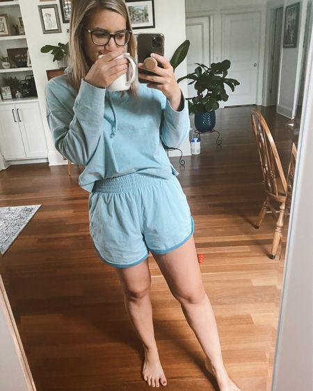My new favorite shorts sweatsuit from Everlane! Runs true to size. @liketoknow.it http://liketk.it/3fGNJ #liketkit #LTKunder100 #LTKunder50  Summer sweatsuit Summer sweats Sustainable Comfortable shorts Cropped hoodie