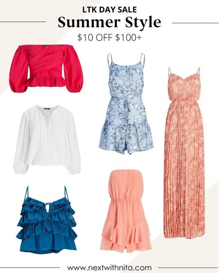 Summer style on sale for LTK Day! Love this summer max dress, rompers, summer blouses and more for travel outfits, vacation outfits, date night outfits.   #LTKtravel #LTKunder100 #LTKsalealert