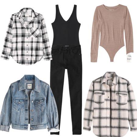 Fun ways to layer a bodysuit. Save 25% off during the LTK Sale  Capsule Wardrobe : plaid : shacket : flannel : denim : jeans    #LTKsalealert #LTKunder50 #LTKSale