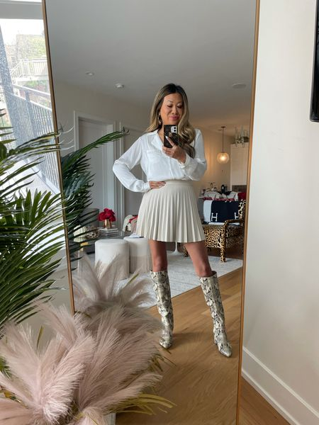 Fall outfit, pleated faux leather skirt, crocodile boots,   #LTKHoliday #LTKstyletip #LTKSeasonal