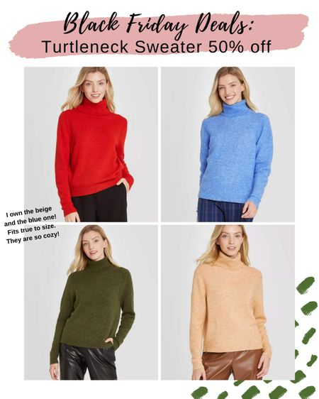 Black Friday Deals: Turtleneck Sweater 50% off from Target!  I have this sweater in beige and blue. They fit true to size. They are so cozy and comfortable. The red or green would be so cute for Christmas   http://liketk.it/31Xb6 #liketkit @liketoknow.it #LTKunder50 #LTKsalealert #LTKstyletip