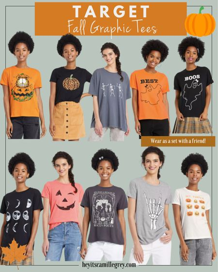 Target Fall and Halloween graphic tees. Pumpkins, ghosts, hocus locus, skeletons. I like to size up one or two for a more comfortable fit! Love the orange, black, grays and white colors!   #LTKunder100 #LTKunder50 #LTKSeasonal