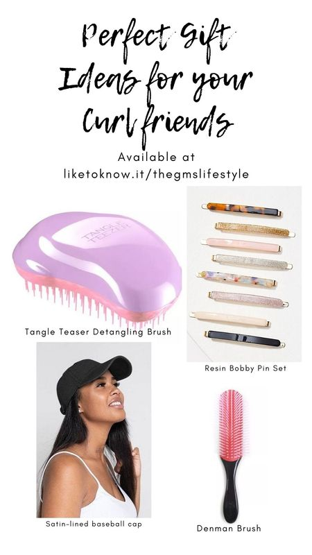 Perfect gift guide for your curly-haired friends, including a tangle teaser detangling brush, decorative bobby pins, denman brush and a satin-lined baseball cap to protect curly, king, coily hair.   @liketoknow.it   #liketkit #LTKsalealert #LTKgiftspo #LTKunder50 #LTKbeauty #blackfridaydeals #cybermondaydeals http://liketk.it/31u3X