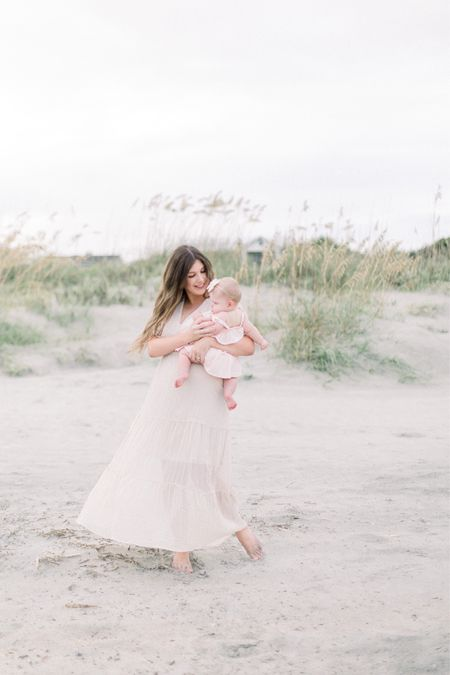 Our motherhood beach photoshoot outfits! We went with soft, neutral tones for both of our dresses! Love a mother daughter shoot!   #LTKunder100 #LTKbaby #LTKfamily