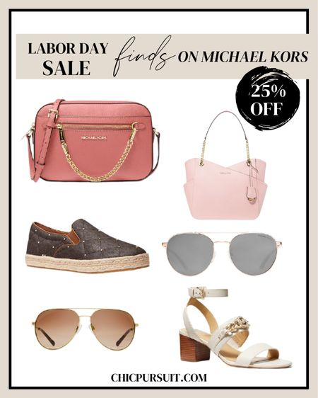 How lovely are these accessories from Michael Kors' Labor Day Sale collection? 😍 You'll find gorgeous handbags, sleek footwear, stunning sunglasses, watches, and more for up to 25% off! ✨💅🏾 @liketoknow.it #liketkit sneakers, designer footwear, sunglasses, Michael Kors, pink shoulder bag, crossbody bag, cream heels, white sandals   #LTKsalealert #LTKSeasonal #LTKshoecrush