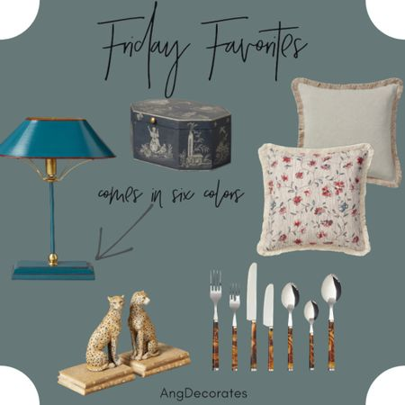 Friday Favorites: tortoiseshell flatware, throw pillows with fringe detail, cheetah bookends  #LTKhome