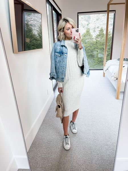Pair a sweater dress with a denim jacket and a sneaker.   #LTKstyletip